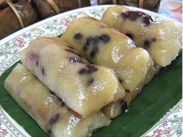 Sweet Sticky Rice with Banana and Black Bean