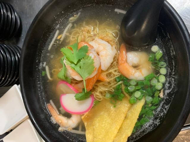 Egg Noodles soup with shrimp