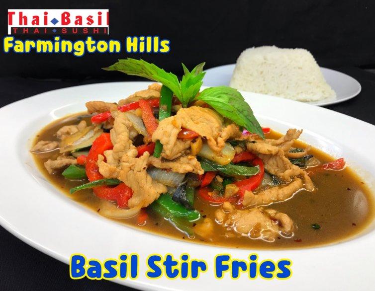 Pad Bi Kra Pow (Basil stir fries)