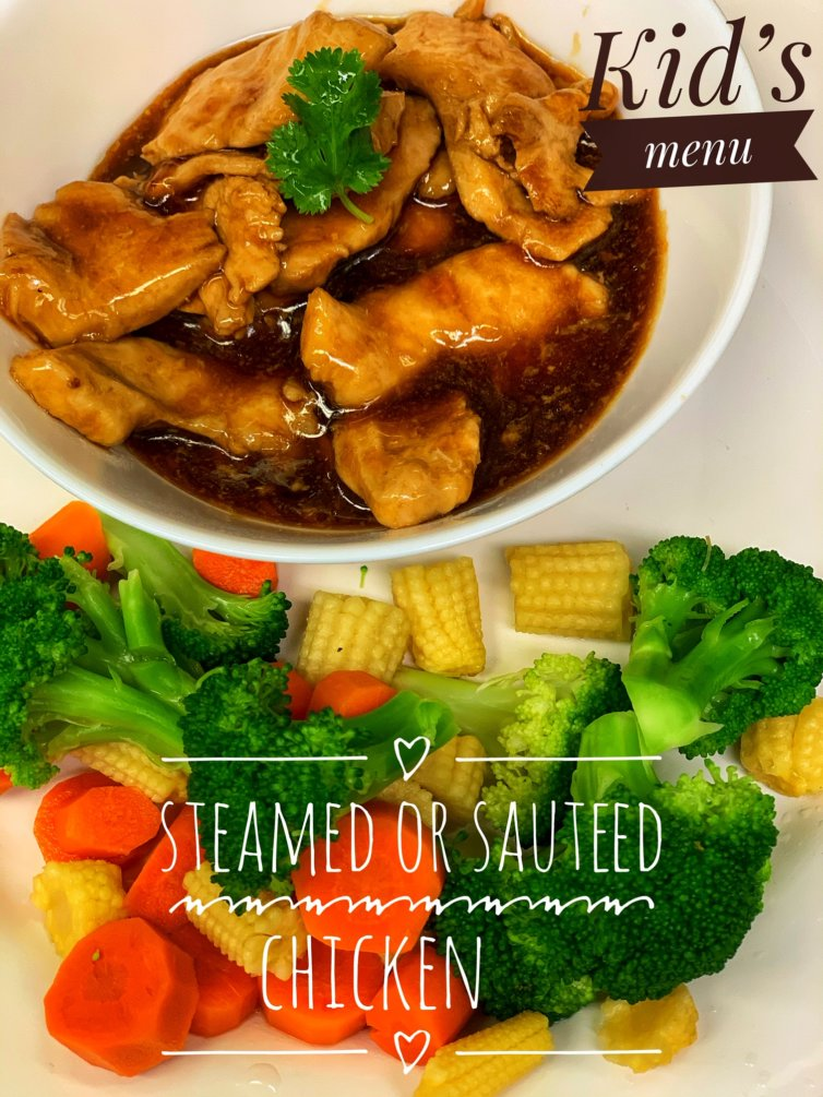 Steamed or Sautéed chicken with a side of vegetable